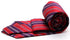 Mens Dads Classic Red Striped Pattern Business Casual Necktie & Hanky Set F-5 - Ferrecci USA