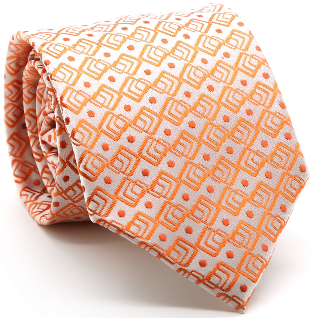 Mens Dads Classic Orange Geometric Pattern Business Casual Necktie & Hanky Set G-12 - Ferrecci USA