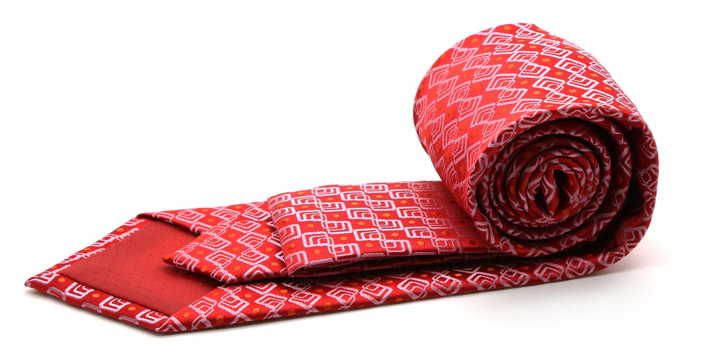 Mens Dads Classic Red Geometric Pattern Business Casual Necktie & Hanky Set G-4 - Ferrecci USA