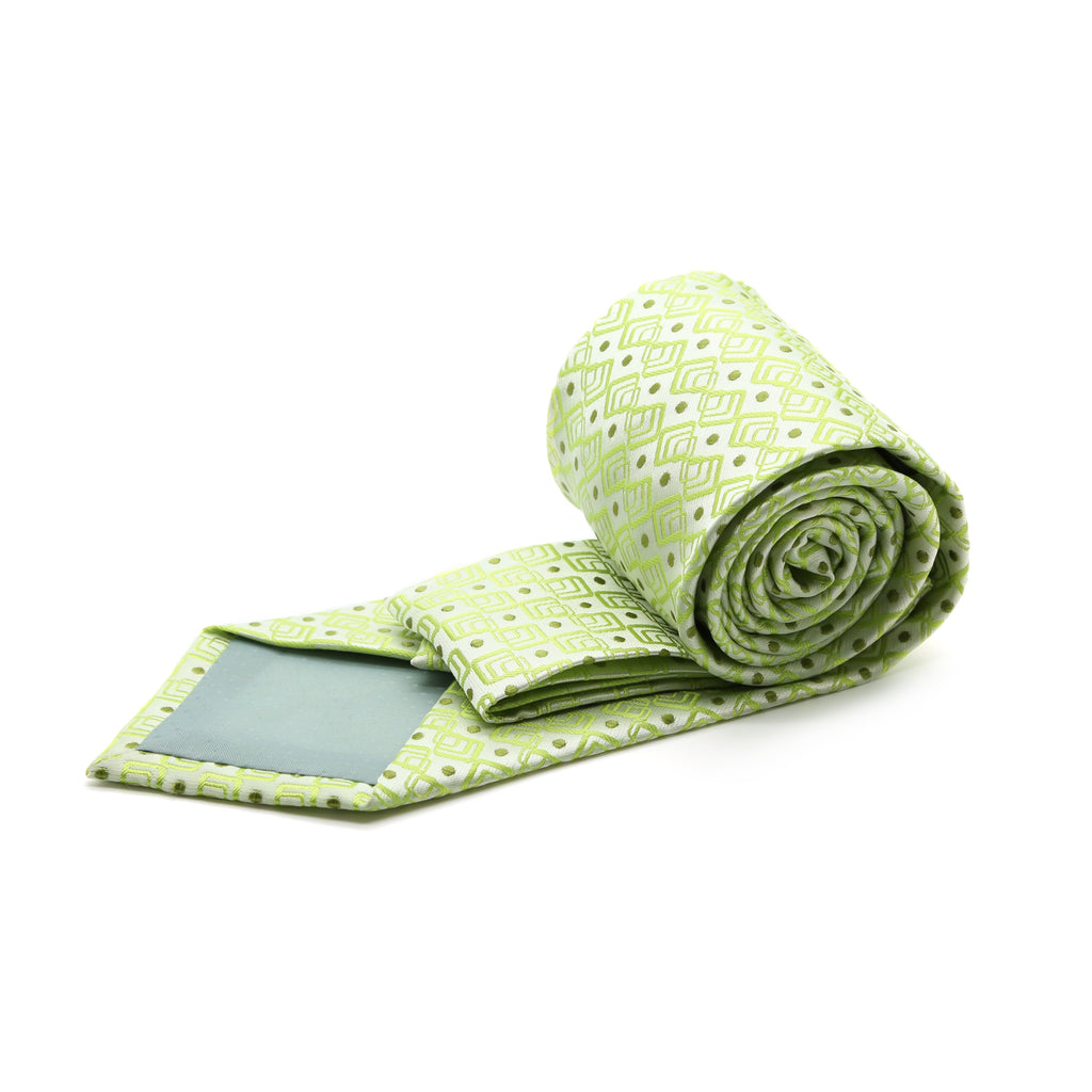 Mens Dads Classic Green Geometric Pattern Business Casual Necktie & Hanky Set G-7 - Ferrecci USA