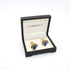 Goldtone Blue Glass Cuff Links With Jewelry Box - Ferrecci USA