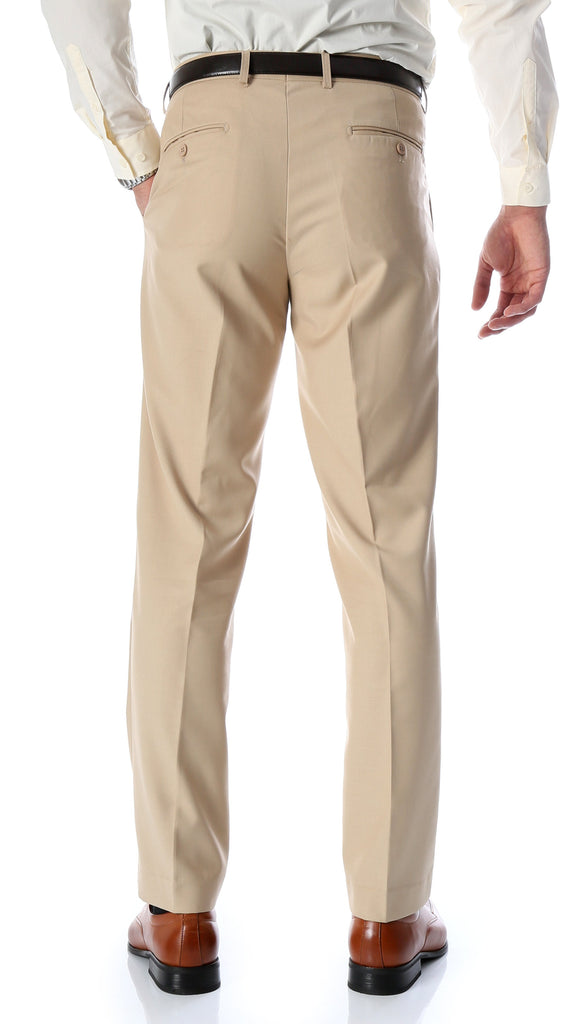 Ferrecci Men's Halo Tan Slim Fit Flat-Front Dress Pants - Ferrecci USA