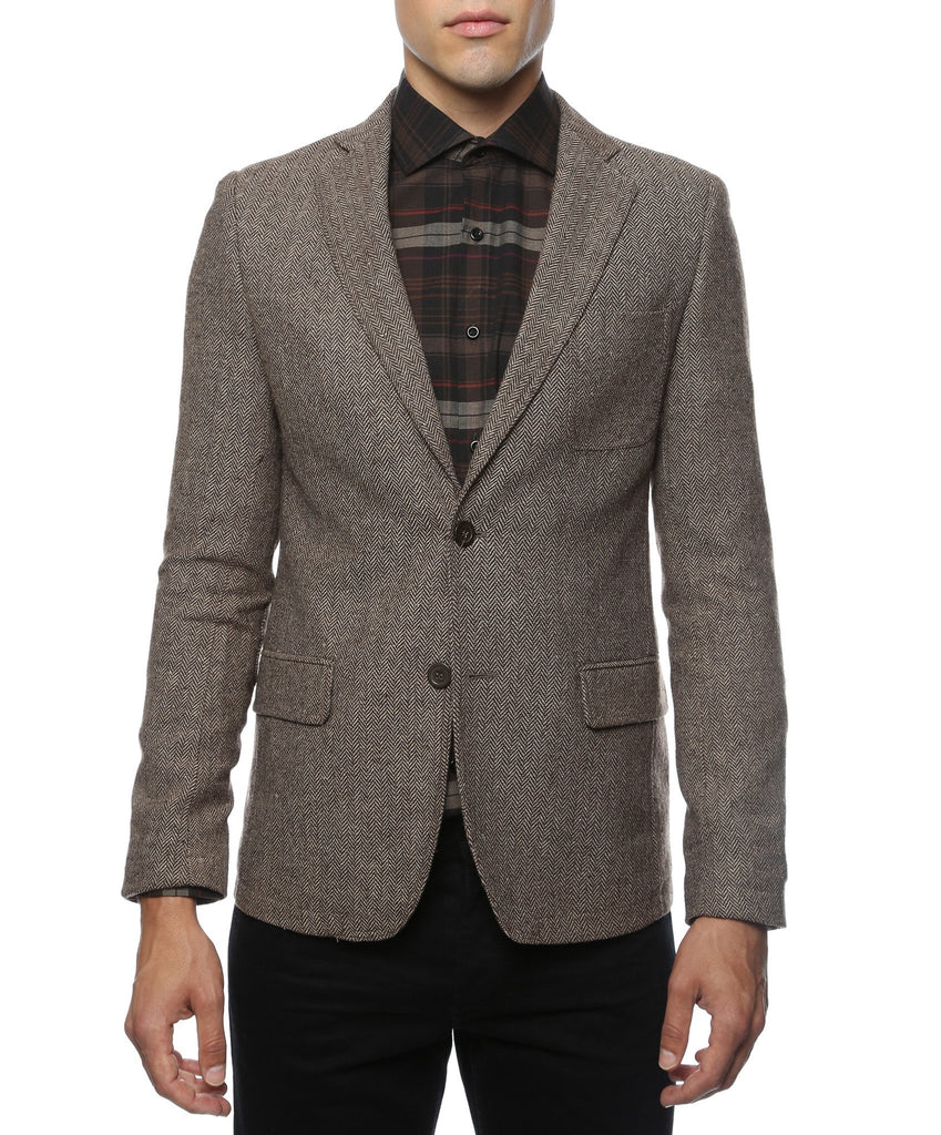 The Hardy Brown Herringbone Super Slim Fit Mens Blazer - Ferrecci USA