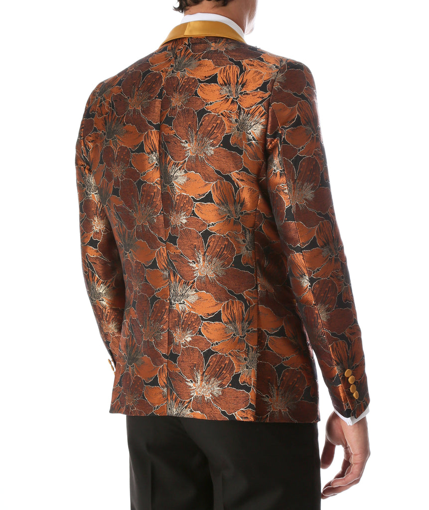 Men's Hugo Rust Floral Modern Fit Shawl Collar Tuxedo Blazer - Ferrecci USA