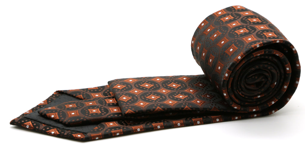 Mens Dads Classic Brown Geometric Pattern Business Casual Necktie & Hanky Set I-2 - Ferrecci USA