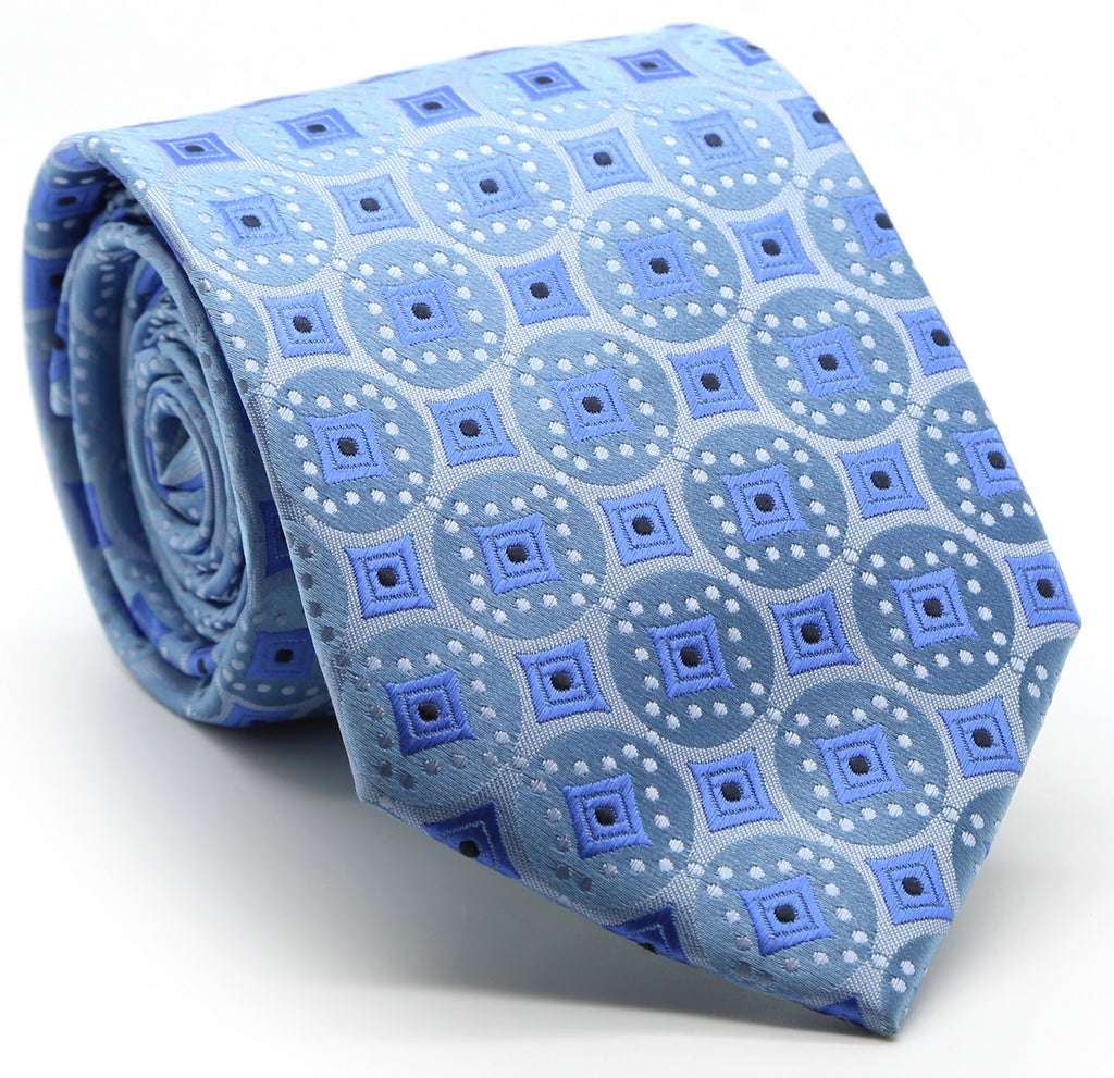Mens Dads Classic Blue Geometric Pattern Business Casual Necktie & Hanky Set I-5 - Ferrecci USA