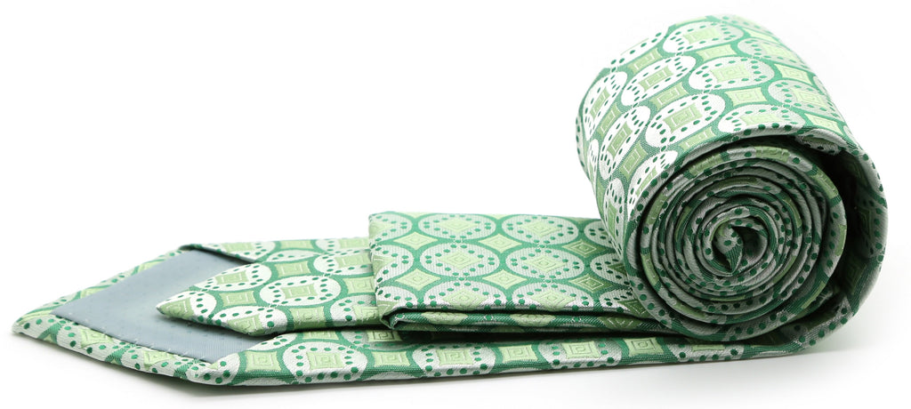 Mens Dads Classic Green Geometric Pattern Business Casual Necktie & Hanky Set I-6 - Ferrecci USA
