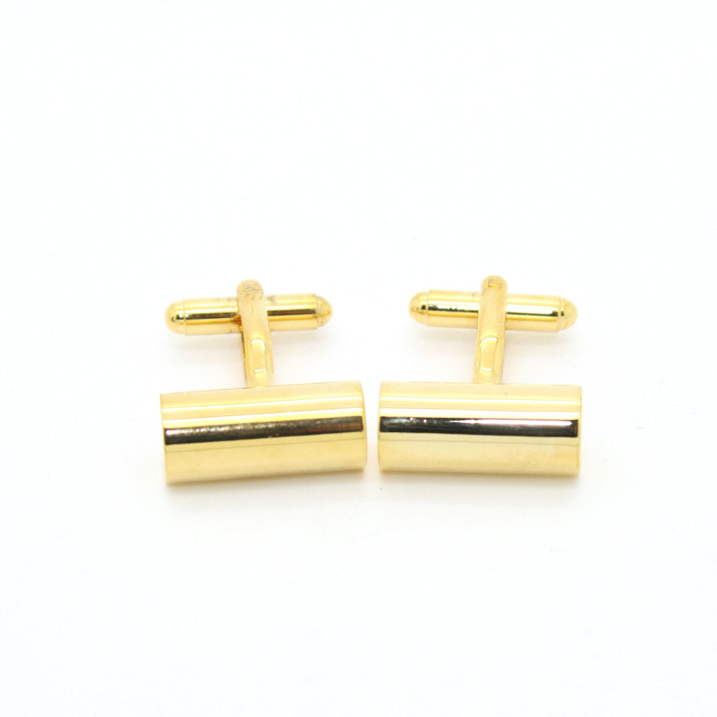 Goldtone Brass Cylinder Cuff Links With Jewelry Box - Ferrecci USA