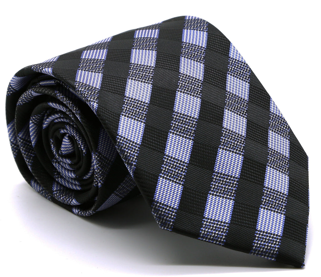 Mens Dads Classic Navy Stripe Pattern Business Casual Necktie & Hanky Set L-6 - Ferrecci USA