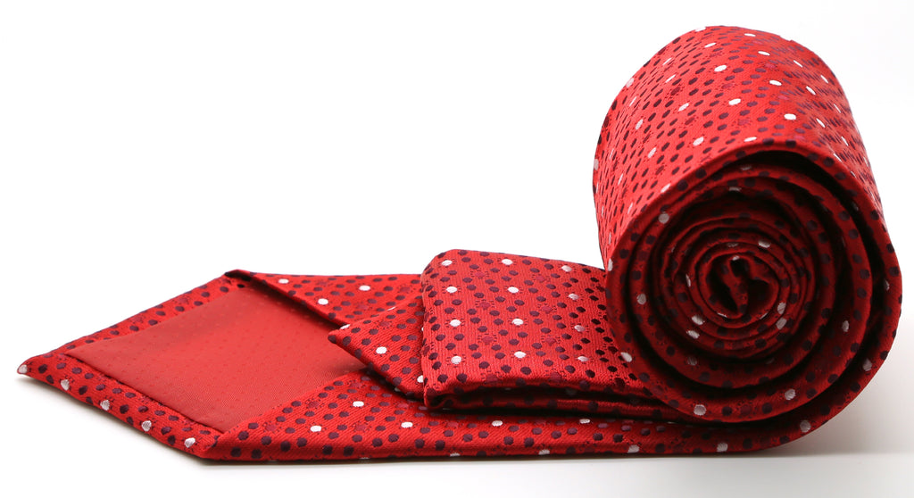 Mens Dads Classic Red Dot Pattern Business Casual Necktie & Hanky Set M-9 - Ferrecci USA