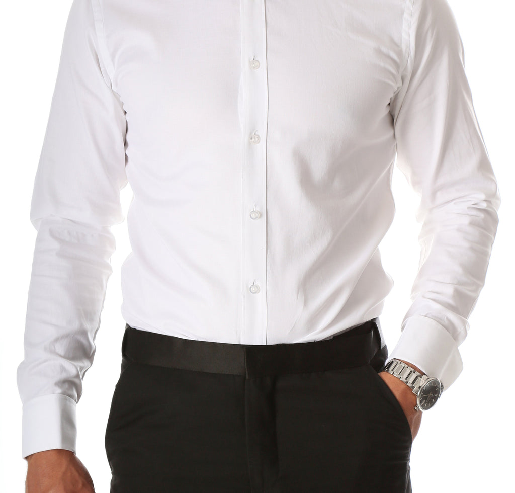 Ferrecci Men's Max White Regular Fit Wing Tip Collar Pleated Tuxedo Shirt - Ferrecci USA