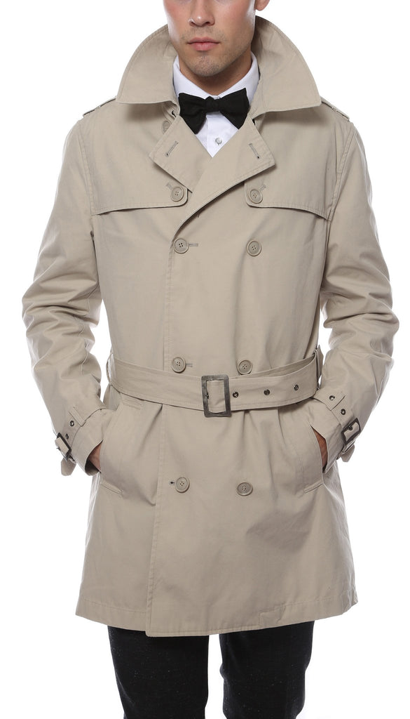Premium Mens Mayfair Classic Fit Tan Trench Coat - Ferrecci USA