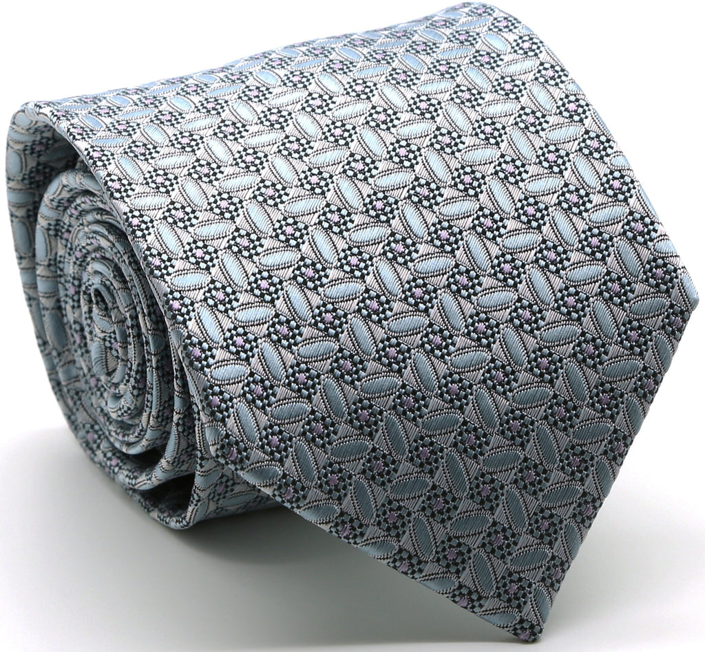 Mens Dads Classic Blue Geometric Circle Pattern Business Casual Necktie & Hanky Set OO-2 - Ferrecci USA