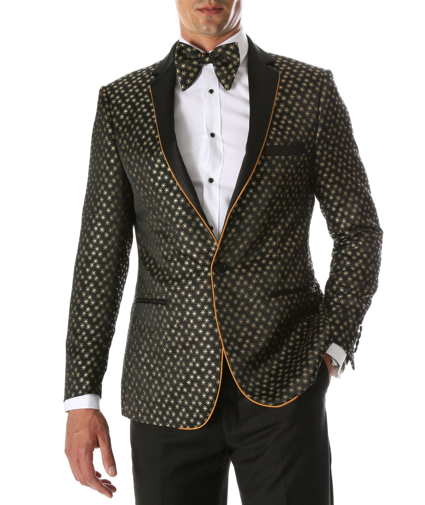Mens Pronto Gold Star Modern Fit Tuxedo Blazer - Ferrecci USA