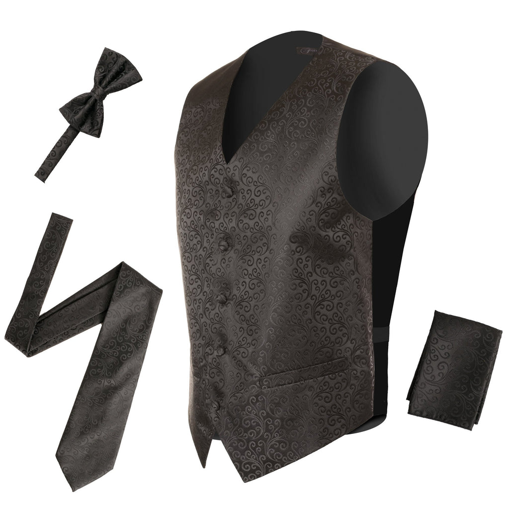 Ferrecci Mens PV50-4 Black Vest Set - Ferrecci USA