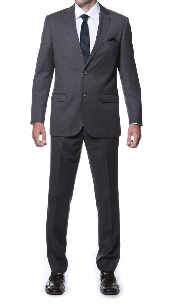 Parker Slim Fit Charcoal Striped Tone on Tone Wool Suit - Ferrecci USA