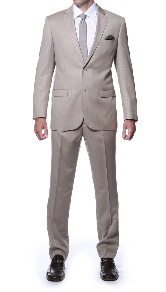 Parker Slim Fit Tan Striped Tone on Tone Wool Suit - Ferrecci USA