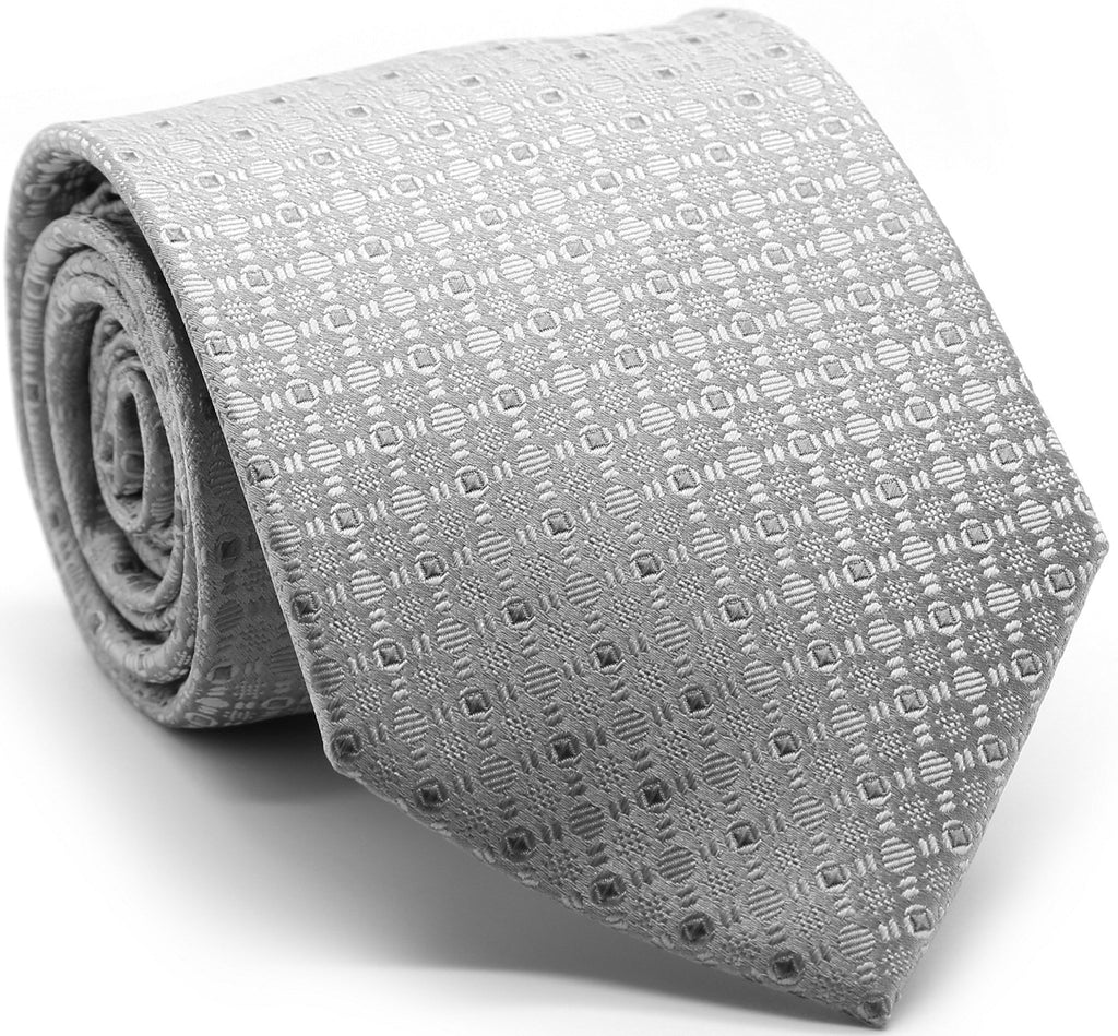 Mens Dads Classic Grey Geometric Pattern Business Casual Necktie & Hanky Set R-5 - Ferrecci USA