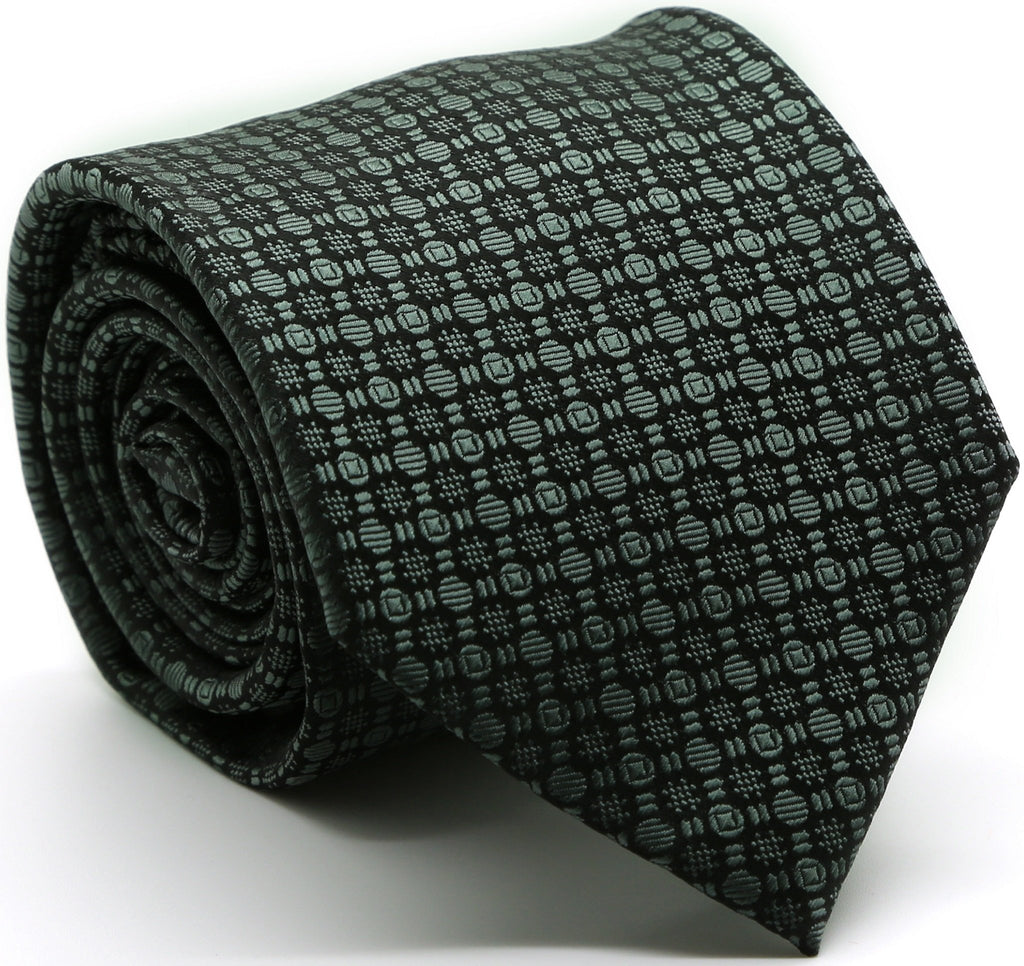Mens Dads Classic Grey Geometric Pattern Business Casual Necktie & Hanky Set R-9 - Ferrecci USA