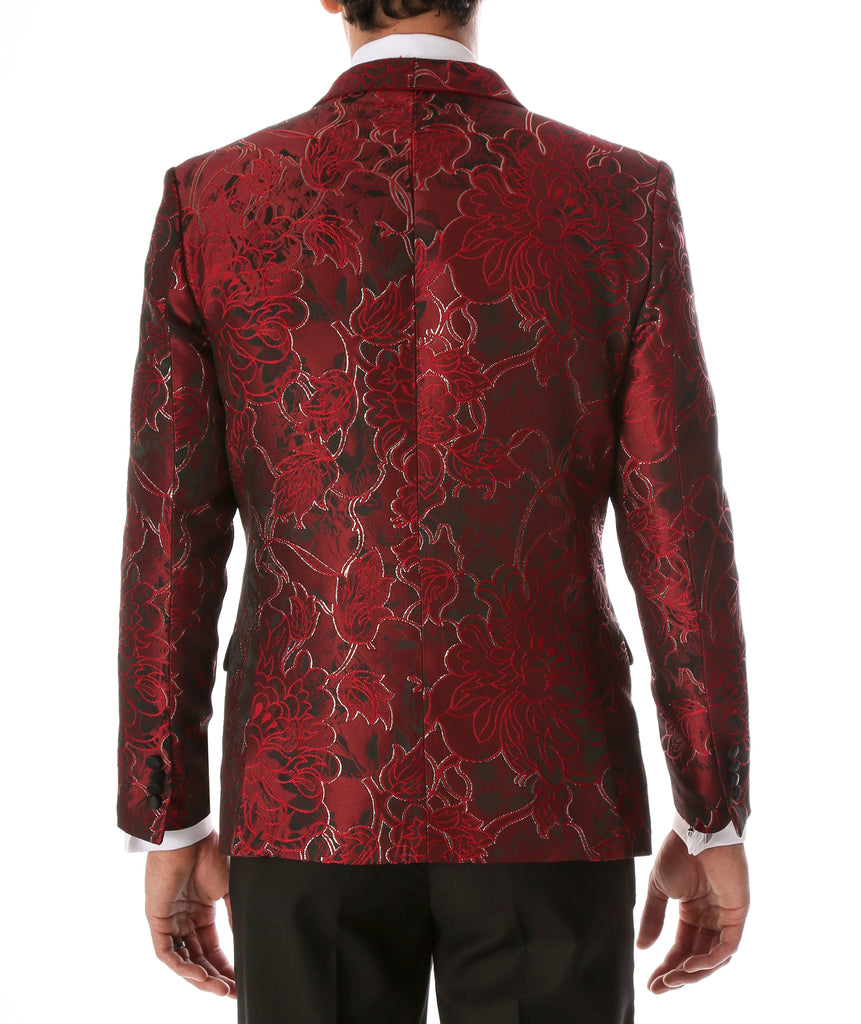 Men's Romi Red Floral Modern Fit Shawl Collar Tuxedo Blazer - Ferrecci USA