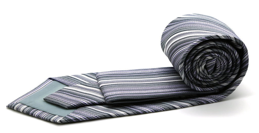 Mens Dads Classic Grey Striped Pattern Business Casual Necktie & Hanky Set S-1 - Ferrecci USA