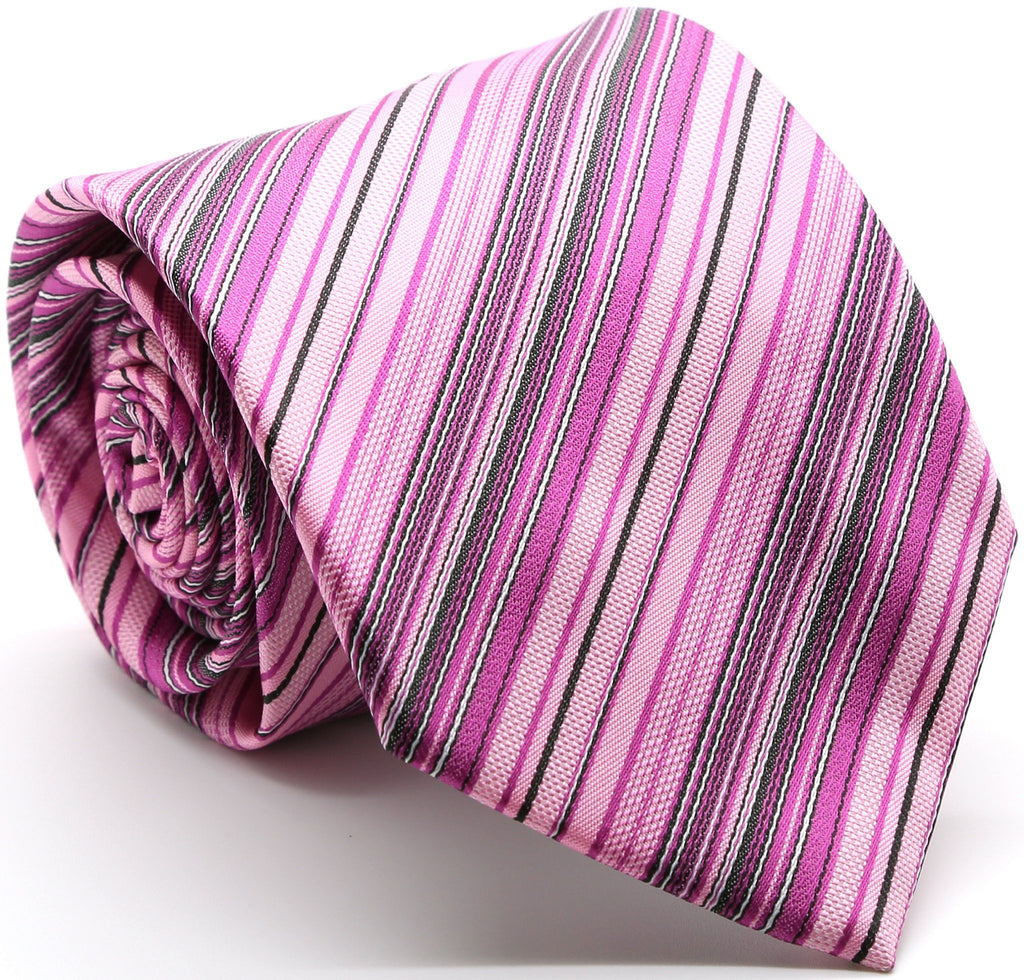 Mens Dads Classic Fuchsia Striped Pattern Business Casual Necktie & Hanky Set S-2 - Ferrecci USA