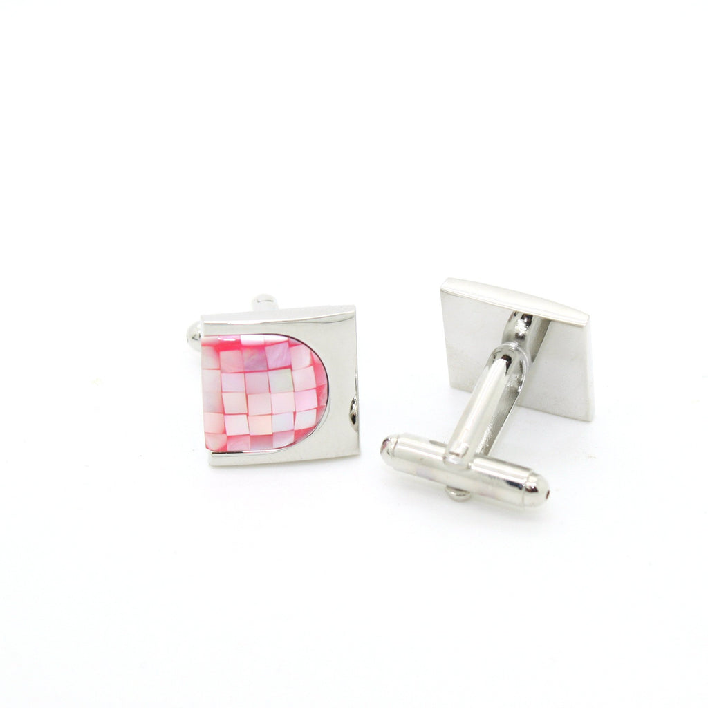 Silvertone U Pink Shell Cuff Links With Jewelry Box - Ferrecci USA