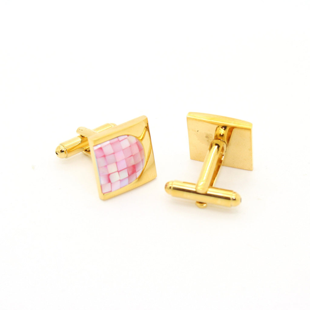 Goldtone U Pink Shell Cuff Links With Jewelry Box - Ferrecci USA