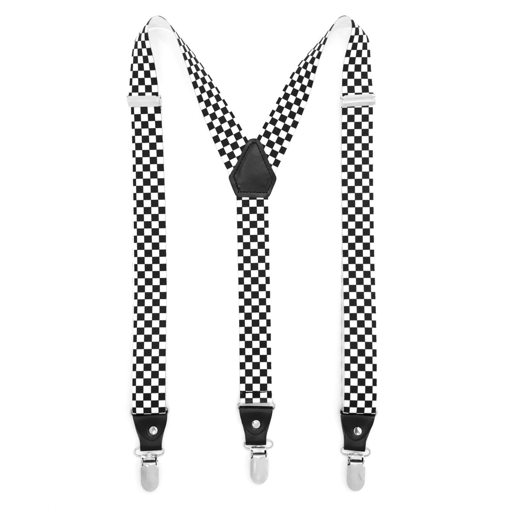 Black & White Check Unisex Clip On Suspenders - Ferrecci USA