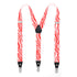 Red & White Zebra Unisex Clip On Suspenders - Ferrecci USA