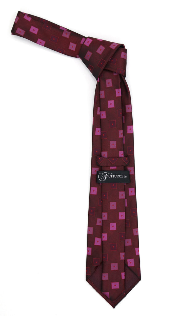 Geometric Berry Red Necktie w. Dotted Squares Hanky Set - Ferrecci USA