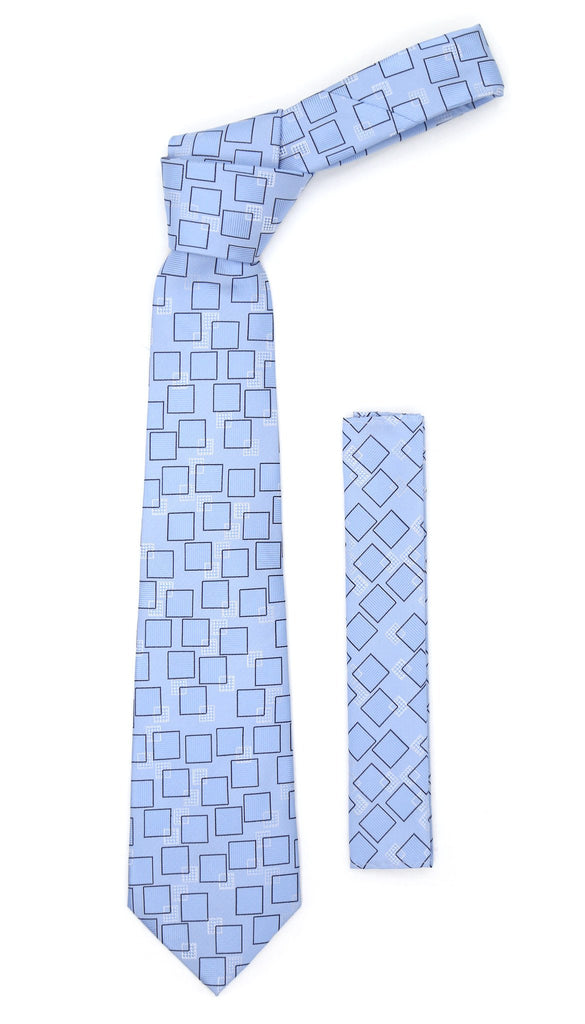 Sky blue Geometric Necktie with Handkerchief Set - Ferrecci USA