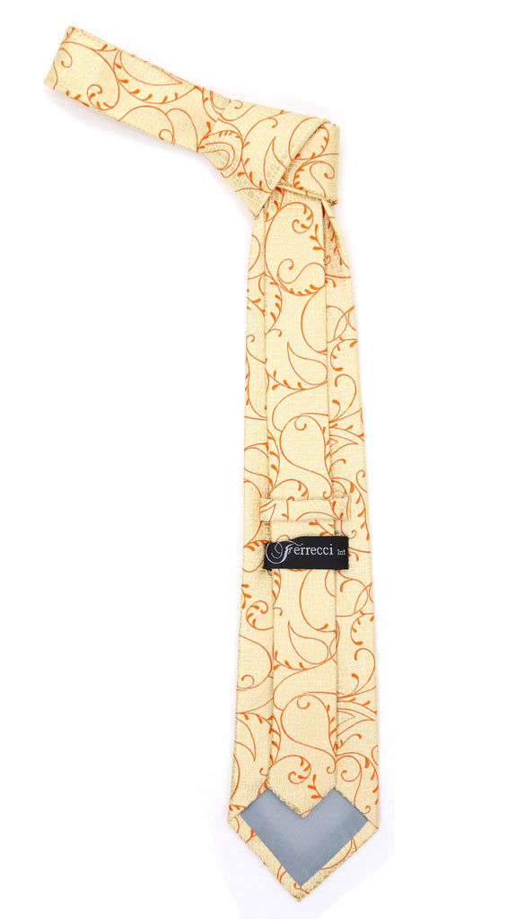 Gold Orange Floral Design Necktie with Handkerchief Set - Ferrecci USA