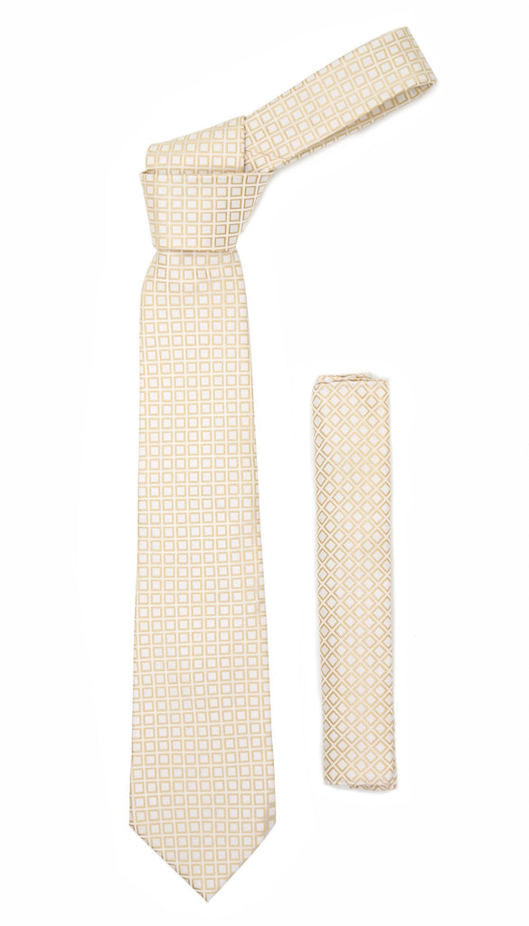 Beige Geometric Necktie with Handkerchief Set - Ferrecci USA