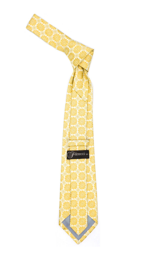Floral Yellow Necktie with Handkderchief Set - Ferrecci USA