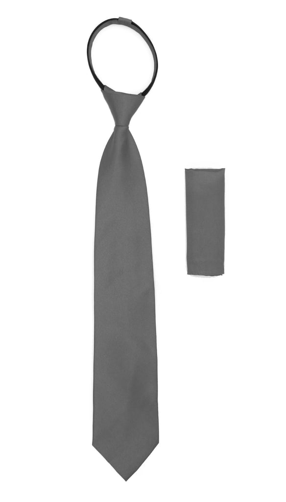 Satine Grey Zipper Tie with Hankie Set - Ferrecci USA
