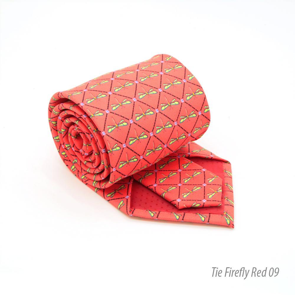 Firefly Red Necktie with Handkerchief Set - Ferrecci USA