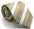 Mens Dads Classic Beige Striped Pattern Business Casual Necktie & Hanky Set U-7 - Ferrecci USA