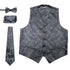 Ferrecci Mens Black Paisley Wedding Prom Grad Choir Band 4pc Vest Set - Ferrecci USA