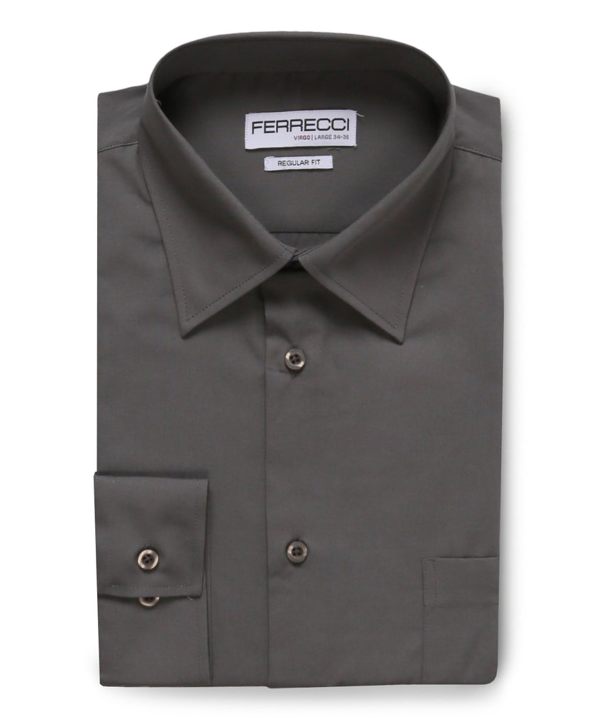 Virgo Charcoal Regular Fit Dress Shirt - Ferrecci USA