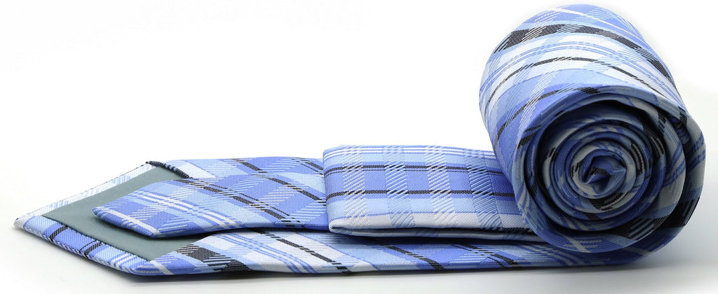 Mens Dads Classic Blue Striped Pattern Business Casual Necktie & Hanky Set VO-10 - Ferrecci USA