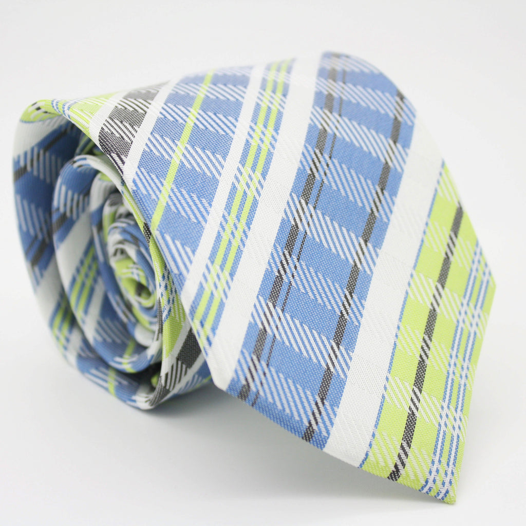 Mens Dads Classic Green Striped Pattern Business Casual Necktie & Hanky Set VO-9 - Ferrecci USA