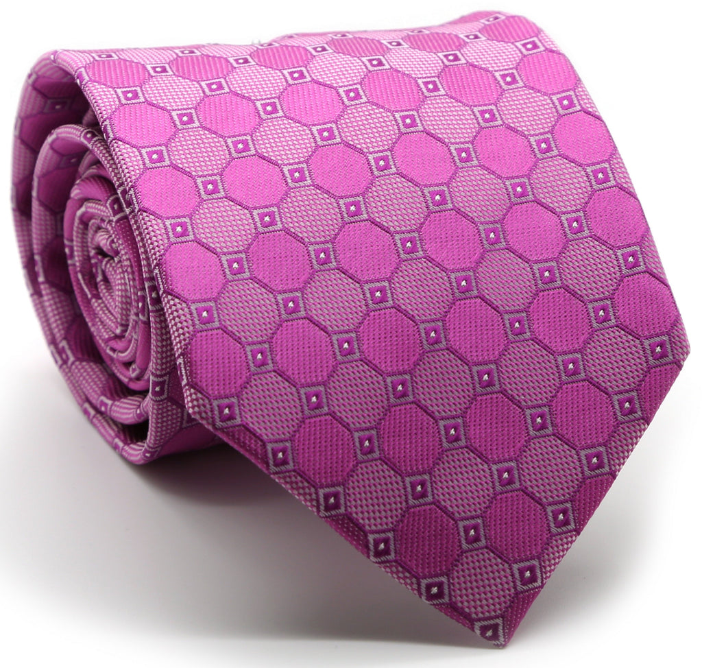 Mens Dads Classic Fuchasia Geometric Pattern Business Casual Necktie & Hanky Set W-2 - Ferrecci USA