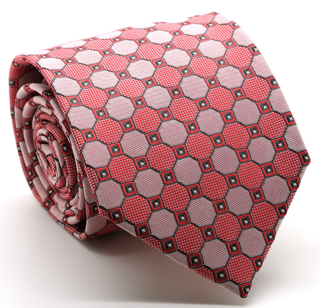 Mens Dads Classic Red Geometric Pattern Business Casual Necktie & Hanky Set W-9 - Ferrecci USA