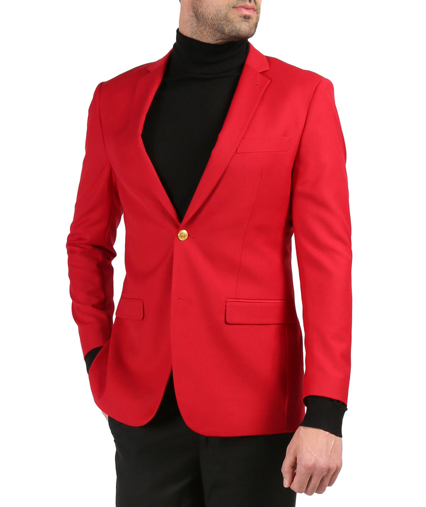 Ferrecci Red Two Gold Button Slim Fit Blazer - Ferrecci USA