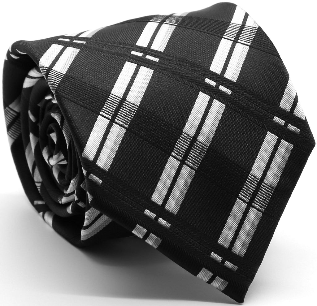 Mens Dads Classic Black Stripe Pattern Business Casual Necktie & Hanky Set Z-1 - Ferrecci USA