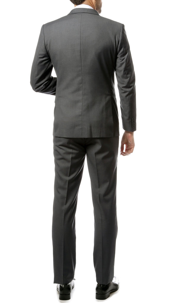 Mens ZNL22S 2pc 2 Button Slim Fit Heather Grey Zonettie Suit - Ferrecci USA