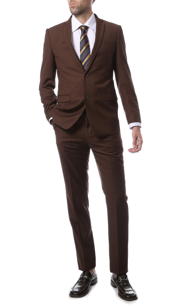 Mens ZNL22S 2pc 2 Button Slim Fit Brown Zonettie Suit - Ferrecci USA