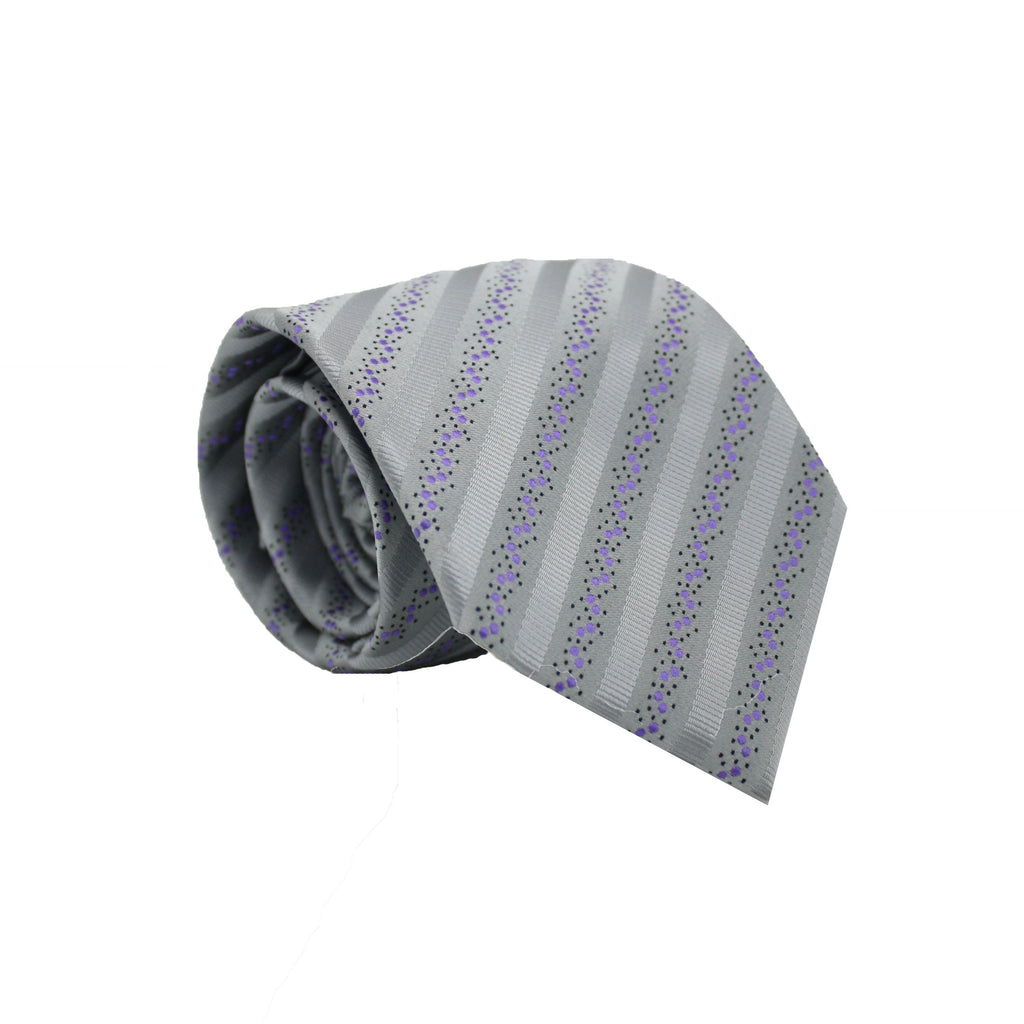Mens Dads Classic Grey Striped Pattern Business Casual Necktie & Hanky Set ZO-12 - Ferrecci USA