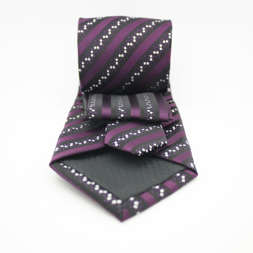 Mens Dads Classic Purple Striped Pattern Business Casual Necktie & Hanky Set ZO-7 - Ferrecci USA